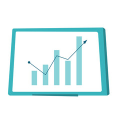 Whiteboard with growing bar chart cartoon vector