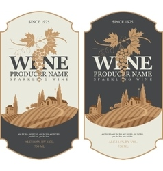 Wine labels with landscape of vineyards vector