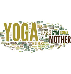 Yoga for mothers text background word cloud vector