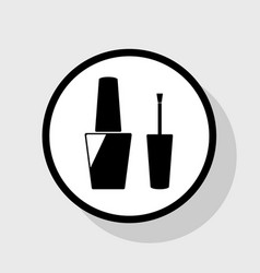 nail polish sign flat black icon in white vector image vector image