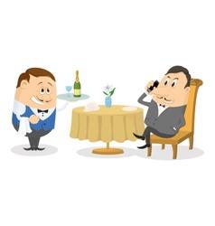 Restaurant man near table isolated vector
