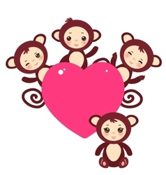 Set of funny brown monkey boys and girls Card vector image vector image