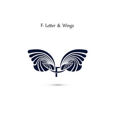 F letter sign and angel wings monogram wing logo vector