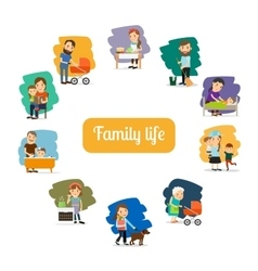 Family life and parents care vector