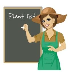 gardener woman in green overalls vector image