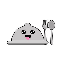 Kawaii catering with spoon and fork icon vector