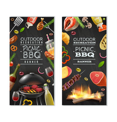 picnic barbecue vertical banners vector image vector image