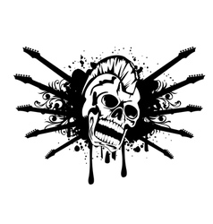 skull with silhouette guitars vector image vector image