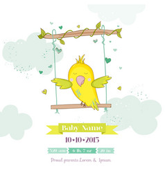 cute parrot swinging baby shower or arrival card vector image vector image