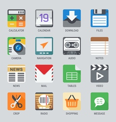Flat icon set for Web and Mobile Application No1 vector image vector image