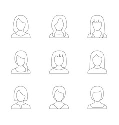 set of outline icons of women vector image