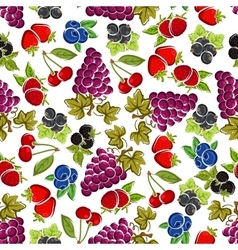 Sweet fruits and berries seamless pattern vector image