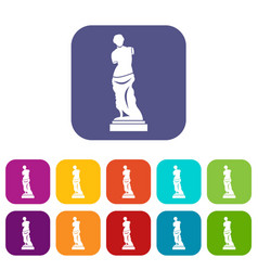 ancient statue icons set vector image vector image