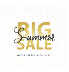 Big summer sale gold sign in white golden glitter vector