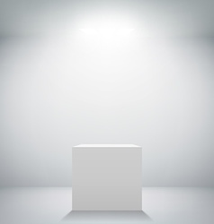 empty white room with a pedestal for presentation vector image vector image