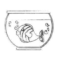 Fish in aquarium pet vector