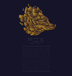 fox or wolf design icon logo luxury gold vector image vector image