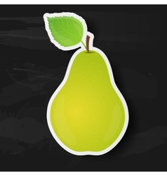 Green pear isolated on black background vector image vector image