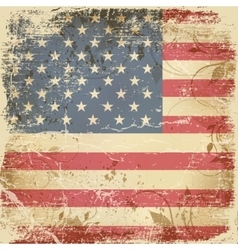Vintage card with American flag vector image
