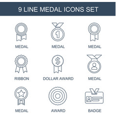 9 medal icons vector