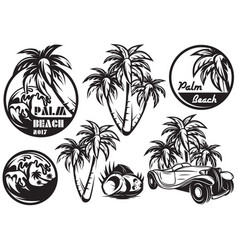 a set monochrome templates with different palm vector image