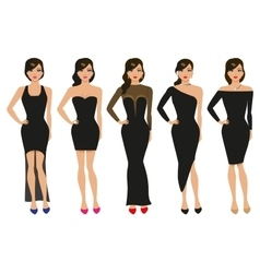 a set of evening dresses vector image