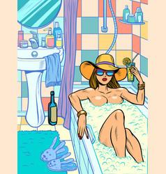 a woman takes bath vector image