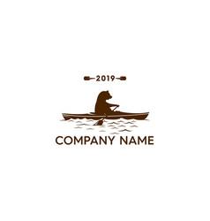 Abstract bear on kayak logo vector