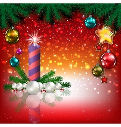 Abstract Christmas red greeting with candle and vector