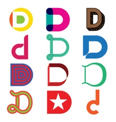 Abstract icons based on the letter D vector