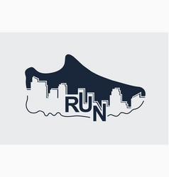 Abstract poster - running sport shoe and the city vector