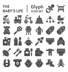baby s life glyph icon set newborn symbols vector image