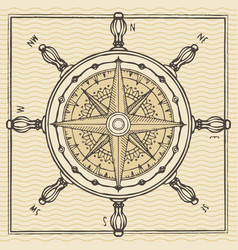 banner with wind rose old compass and ship wheel vector image