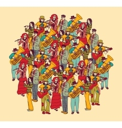 Big group musicians band orchestra color vector