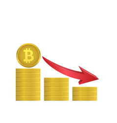 Bitcoin coins with red arrow vector