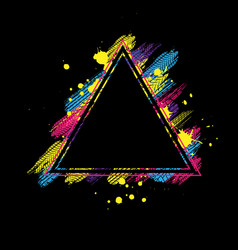 Black and color triangle tire frame vector