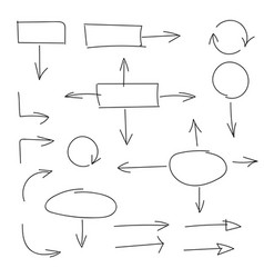 black hand drawn set of arrows and block schemes vector image