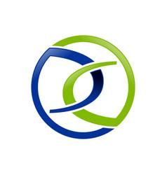 blue green link chain insurance symbol design vector image