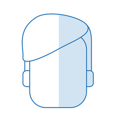 Blue silhouette shading faceless front view man vector