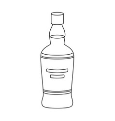 Bottle of scottish whiskey icon in outline style vector