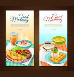 Breakfast vertical banners vector