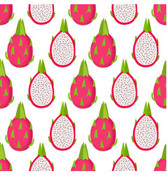 bright seamless pattern with dragon fruits vector image