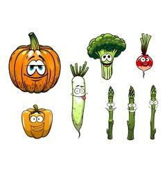 Broccoli asparagus radishpumpkin and pepper vector image