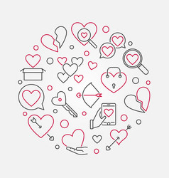 broken love round outline vector image