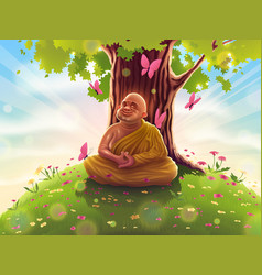 Buddhist monk in meditation relaxation in nature vector