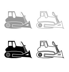 Bulldozer icon outline set grey black color vector