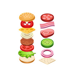 burger with flying ingredients delicious snack vector image