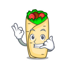 Call me burrito mascot cartoon style vector