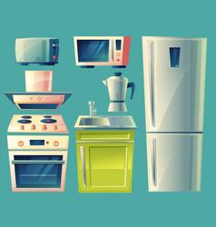 Cartoon modern kitchen interior objects set vector