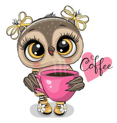 Cartoon owl with pink cup coffee vector